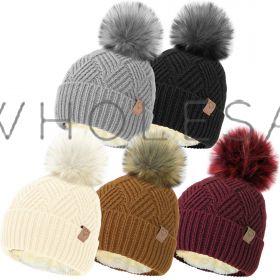 HAI689 Cable Knit Hats With Detachable Bobble