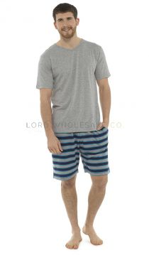Ht084 Men's Jersey Striped Short Pyjamas