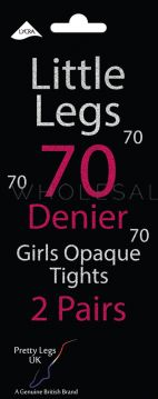 Girls 2 Pair Pack Luxury 70 Denier Opaque Tights with Lycra 12 pairs