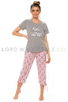 Ladies Jersey Popcorn Cropped Leg Pyjama By Follow That Dream 6 Pieces