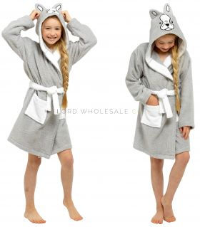 LN207 Girls French Bulldog Novelty Hooded Towelling Robe 6 Pieces