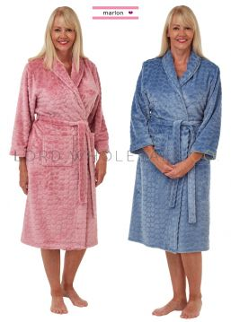 Ladies Soft Feel Heart Embossed Shawl Collar Gown Robe Wrap By Marlon