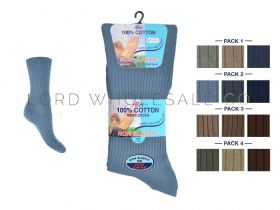 Mens Non Elastic 6-11 3 Pair Pack 100% Cotton Socks