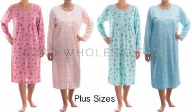 Cotton Rich Jersey PLUS SIZE Long Sleeved Nightdresses by Romesa/Lucky 10 pieces