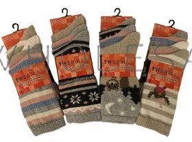 SE132 ladies Patterned Thermal Socks With Wool