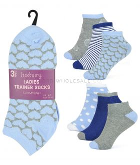 SK553 Lurex Heart & Shell Trainer Socks