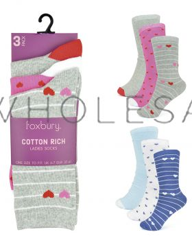 SK555 Striped Heart Socks by Foxbury