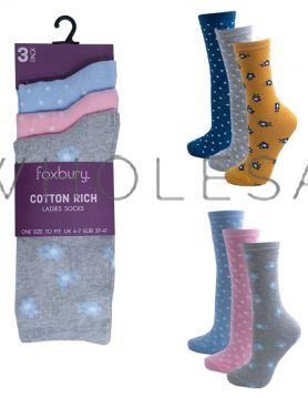 Ladies 3 Pack Flower Design Cotton Rich Socks by Foxbury 12 Pairs