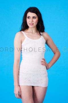 Snowdrop Ladies 100% Cotton French Neck Vests Plain 6 Pieces