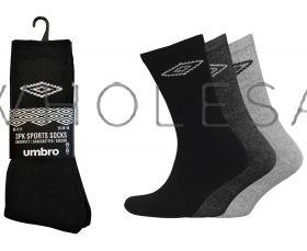 Men's Umbro Cotton Sports Socks Black, White or Assorted 12 pairs