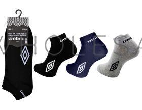 Men's Umbro Cotton Trainer Socks Black, White or Assorted 12 pairs