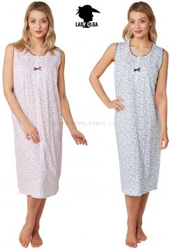 0102 100% Cotton Sleeveless Nightdress by Lady Olga