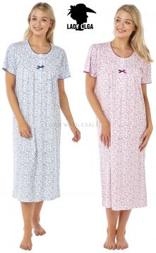 0105 100% Cotton Short Sleeved Nightdress by Lady Olga