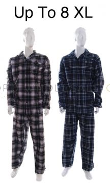 PLUS SIZE Mens Pyjamas Brushed 100% Cotton Up To 8XL by Kingsclub