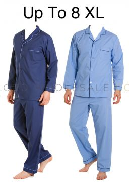 PLUS SIZE Mens Pyjamas Poly Cotton Up To 8XL by Kingsclub