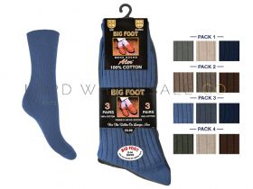 Mens Big Foot 11-14 3 Pair Pack 100% Cotton Socks