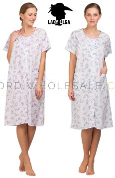 Ladies Button Through Poly Cotton Floral Nightdress by Lady Olga