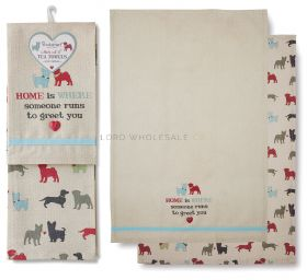 1443 Dog Pooches Tea Towels by Cooksmart
