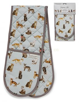 1730 Curious Cats Double Oven Gloves by Cooksmart