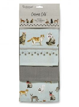 1733 Curious Cats Tea Towels by Cooksmart