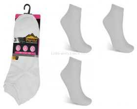 Ladies White Cotton Rich Trainer Socks 3 Pair Pack 4-8 by Pro Hike