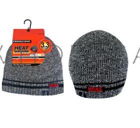 2176 Grey Melange Beanie Hats by Heat Machine