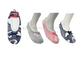 Ladies Heart DesignCosy Soft Slipper Socks With Grips By Snuggle Toes 12 pieces
