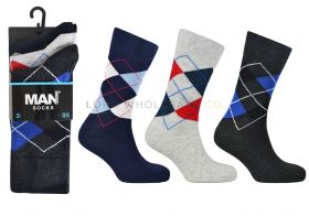 Men's Assorted Argyle 3 Pair Pack Cotton Rich Socks by MAN 1 dozen