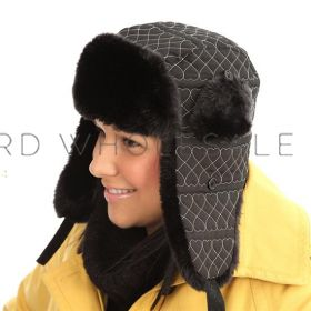 Ladies Heart Embroidered Quilted Trapper Hats with Faux Fur 12 pieces