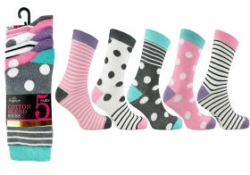2720 5 Pack Stripes Spots Socks