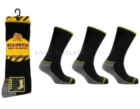 Mens Ruff & Tuff Diabetic Non Elastic Work Socks 3 Pair Pack - 1 dozen