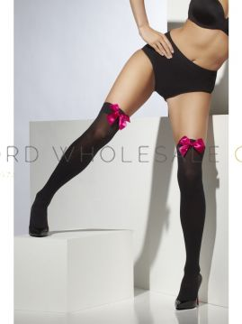 Hold Up Stockings with Bow by Smiffys Sheer Desires