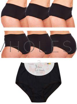 Ladies Black 3 pair pack 100% Cotton Full Briefs by Cottonique
