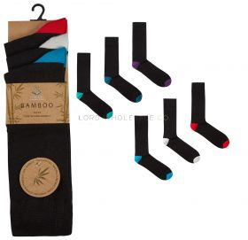40B529 Men's Bamboo Coloured Heel and Toe Socks