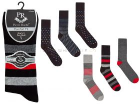 40B549 Men's Stripe and Spot Non Elastic Socks