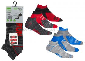 Men's Cushion Sole Arch Support Sports Trainer Liner Run, Walk, Jog Socks 3 Pair Pack by Red Tag 3doz