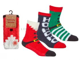 Mens Christmas Festive Socks With Grippers 6 Pairs
