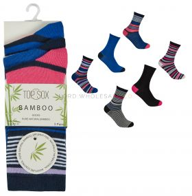 41B520 Ladies Bamboo Stripe Socks by Top Sox