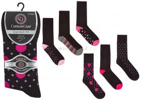 41B587 Ladies Spot and Heart Non Elastic Socks