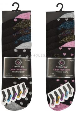 41B620 Ladies Glitter Socks 12 x 5 Pair Packs