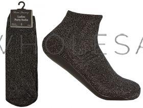 41B621 Ladies Glitter Party Slipper Socks