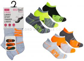Ladies Cushion Sole Arch Support Sports Trainer Liner Run, Jog, Walk Socks 3 Pair Pack by Red Tag 3doz