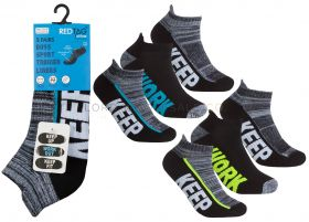 Older Boys Cushion Sole Arch Support Sports Trainer Liner Socks 3 Pair Pack by Red Tag 3doz