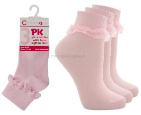 Girls Pink Lace Ankle Socks 3 Pair Pack by Cottonique 18 pairs