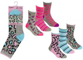 43B650 Older Girls Animal Print Socks 12 x 3 Pair Packs