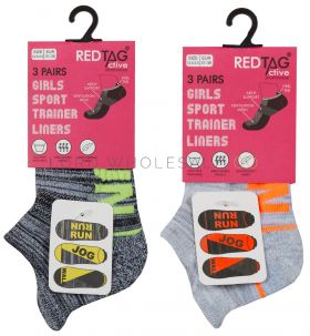 Older Girls Cushion Sole Arch Support Sports Trainer Liner Run, Jog, Walk Socks 3 Pair Pack by Red Tag 3doz