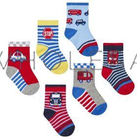 44B788 Car & Bus Baby Socks