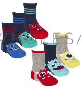 44B863 Younger Boys Monster Socks
