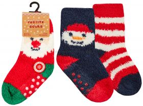 44B886/Xmas Baby Christmas Festive Socks With Grippers 12 x 2 Pair Packs