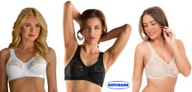 Soft Cup Stretch Firm Control Bras with Lace by Naturana 5046